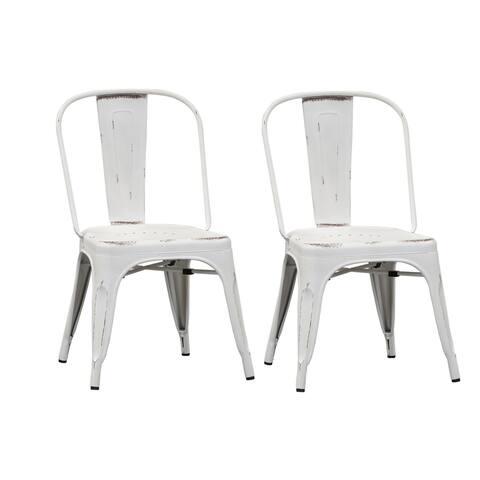 Carbon Loft Cauthen Vintage Series Antique White Bow Back Side Chair (Set of 2)