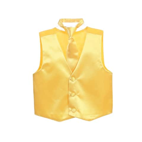 Little Boys Yellow Three Button Satin Vest Tie 2 Pc Set