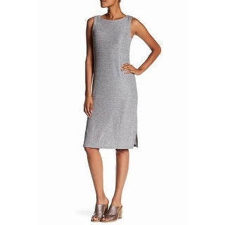 Bobeau Silver Womens Size Medium M Ribbed Crewneck Sheath Dress