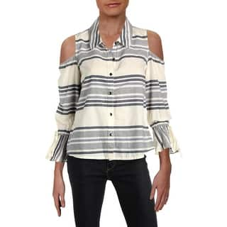 359df4a75ee579 Quick View.  10.40. Splendid Womens Button-Down Top Striped Cold Shoulder  ...