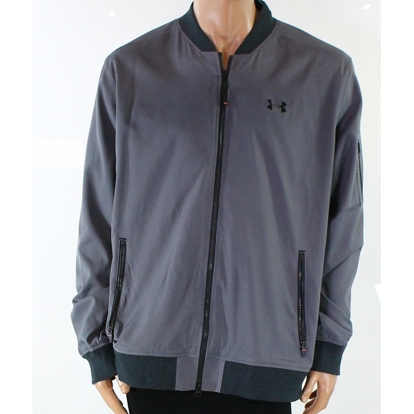 Under Armour NEW Gray Mens Size 2XL Two-Pocket Logo Full Zip Jacket