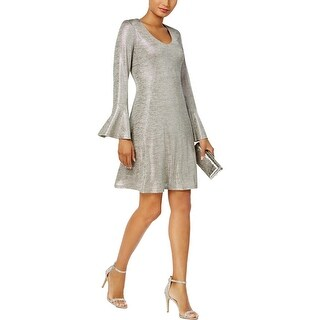 Connected Apparel Womens Petites Party Dress Metallic Above Knee