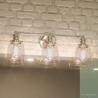 "Luxury Industrial Chic Bathroom Vanity Light, 9""H x 23""W, with Modern Style, Nostalgic Design, Polished Nickel Finish"