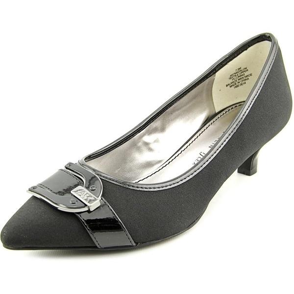 Anne Klein AK Madalon Women Pointed Toe Canvas Black Heels