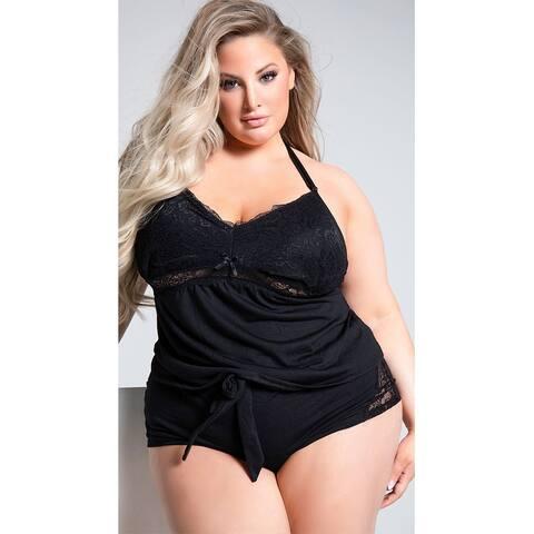 Plus Size Joyelle Lace Jesery Lounge Shorts