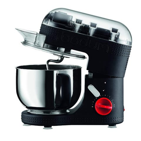 BODUM 11381-01US Bistro 700W 7-Speed Tilt-Head Stand Mixer with Pouring Shield, Beaters, Whisk, Dough Hook, Black