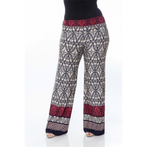 17835b05baed Shop White Mark Ps550-116-3Xl Plus Size Printed Palazzo Pants 116-Beige &  Navy - 3Xl - Free Shipping On Orders Over $45 - Overstock - 26963038
