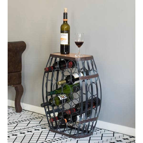 Barrel Shaped 22 Bottles Decorative Table Wine Rack Storage Overstock 32084520