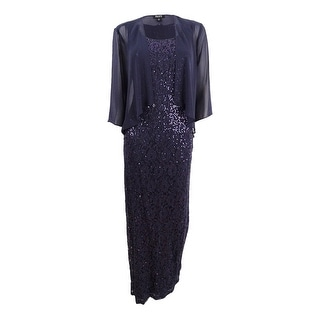 SL Fashions Women's Sequined Lace Gown & Chiffon Jacket - Storm