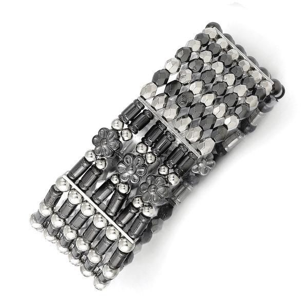 Silvertone & Black IP Acrylic Beads Stretch Bracelet