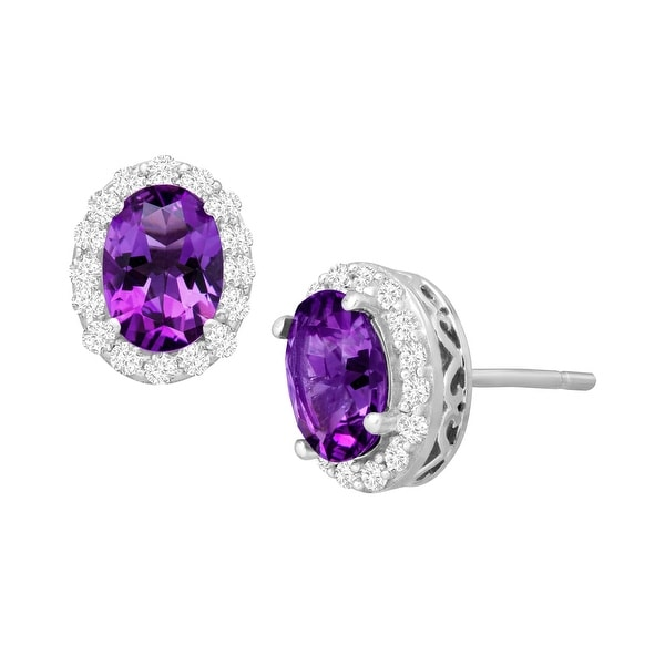 1 7/8 ct Natural Amethyst & Natural White Topaz Stud Earrings in 10K White Gold - Purple