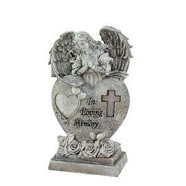 "6.5"" Praying Angel ""In Loving Memory"" Bereavement Patio Garden Statuary w/ Pure White Solar Light"