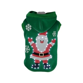 Pet Life LED Lighting Hands-Up-Santa Sweater Pet Costume, Green, Small