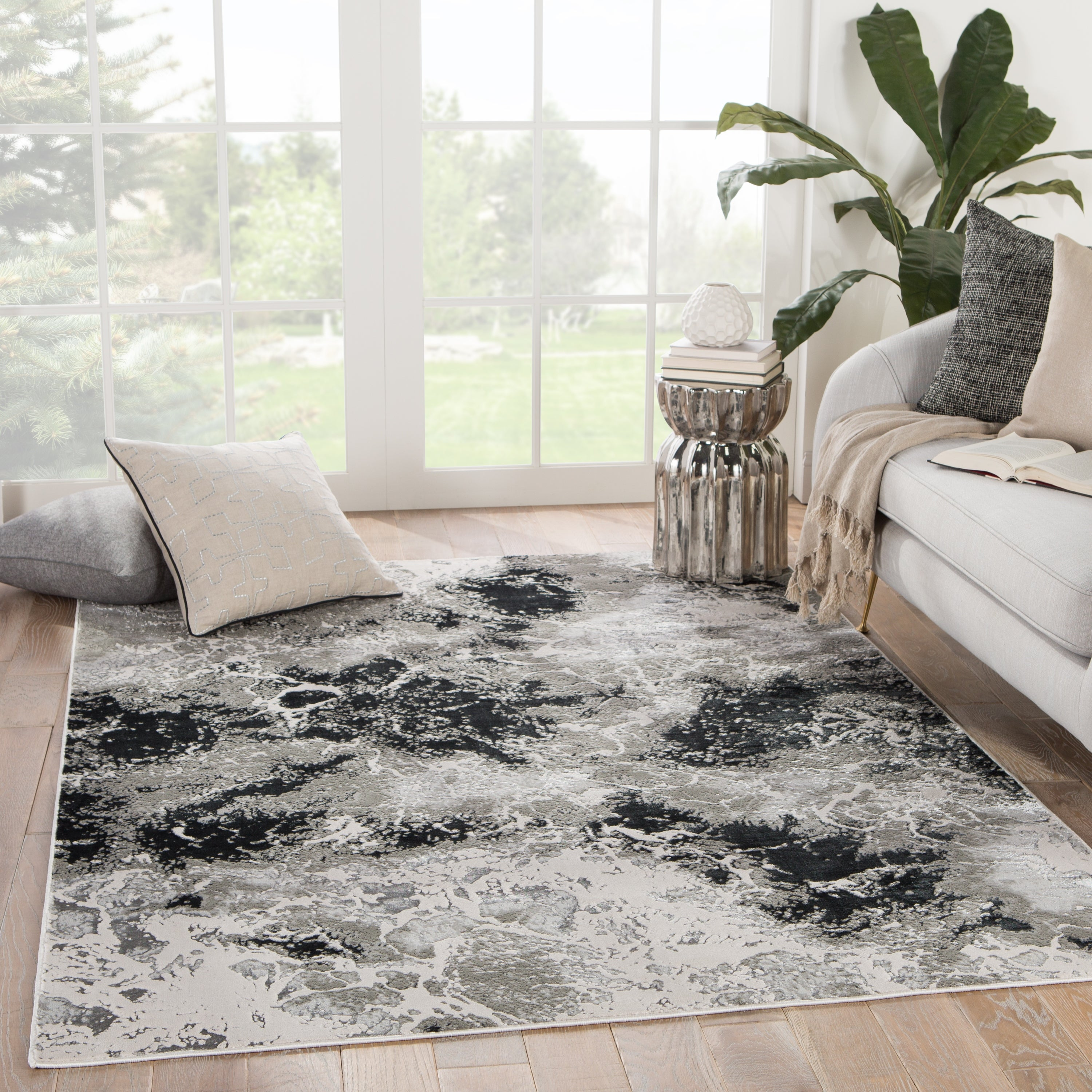 Silver Orchid Pugo Abstract Black Gray Area Rug On Sale Overstock 30244266 2 2 X 8