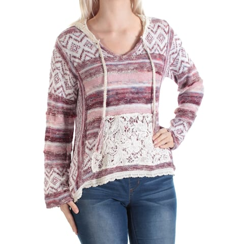 AMERICAN RAG Womens Purple Pocketed Lace Hood Long Sleeve V Neck Hi-Lo Sweater Size: S