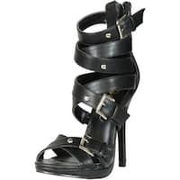 Machi Womens Cosmo-2 Buckle Cris Cross Zipper Strappy Sandal Stiletto High Heels