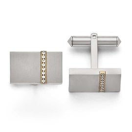 Chisel Titanium Brushed Yellow IP CZs Rectangular Cuff Links