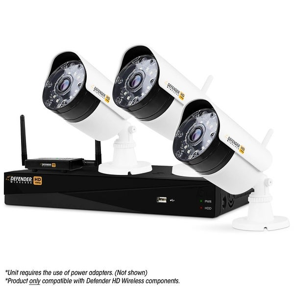 Defender Wireless HD 1080p 4 Channel 1TB DVR Security System with Smart Adaptive Wireless Technology & 3 Bullet Cameras