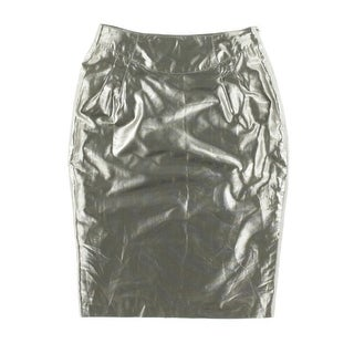 Catherine Malandrino Womens Metallic Knee-Length Pencil Skirt - 4