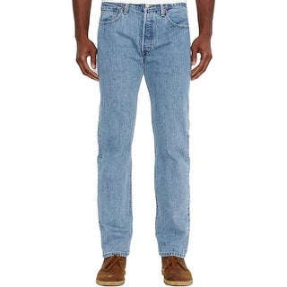 Levi's Mens 501 Straight Leg Jeans Classic-Rise Light Wash