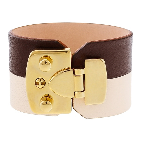 Stamerra BOSSA CREMA Brown/Cream Genuine Leather Cuff Bracelet