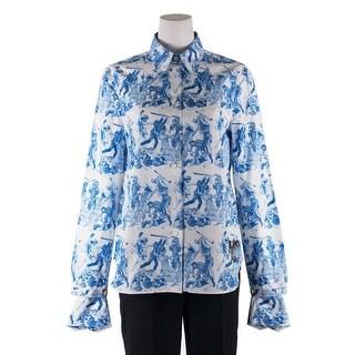 Prada Women Blue Cotton The Important Ones Button Down Shirt