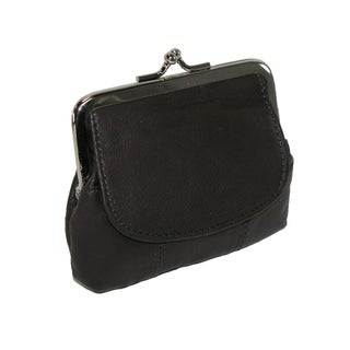 CTM® Leather Double Compartment Coin Purse - One size