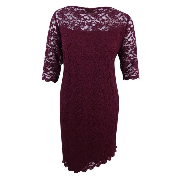 Shop Connected Women\'s Plus Size Illusion Lace Dress (24W, Bordeaux ...