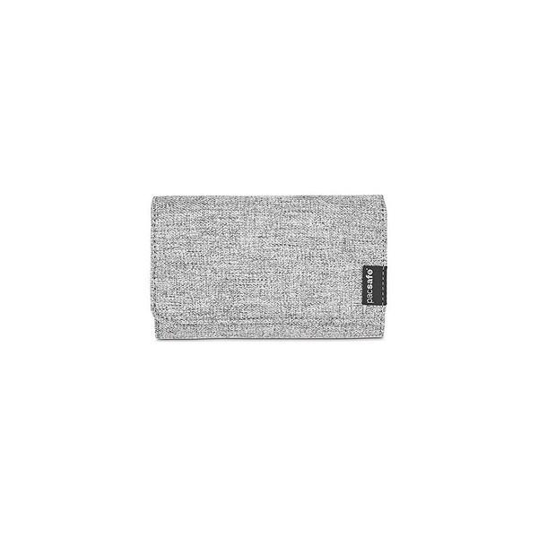Pacsafe RFIDsafe LX100 - Tweed Grey RFID Blocking Wallet w/ Snap Button Closure