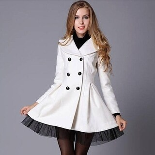 Women Gorgeous and elegant Slim big swing twill veil placed double-breasted wool coat jacket