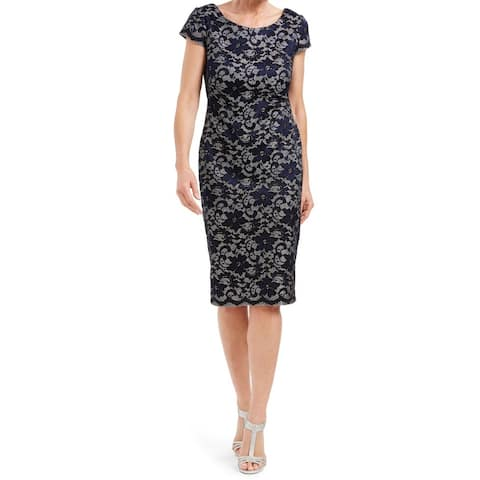 Connected Apparel Womens Dress Blue Size 14 Sheath Shimmer Floral