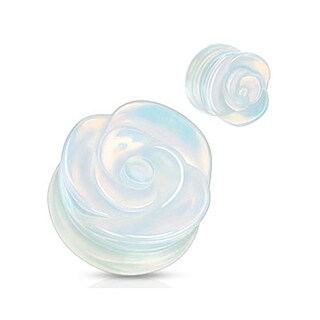 Opalite Semi Precious Stone Rose Carved on Single Side Double Flared Plug (Sold Individually) (More options available)