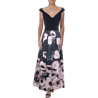 Link to X by Xscape Womens Petites Formal Dress Floral Ballgown - Navy Lilac Similar Items in Petites