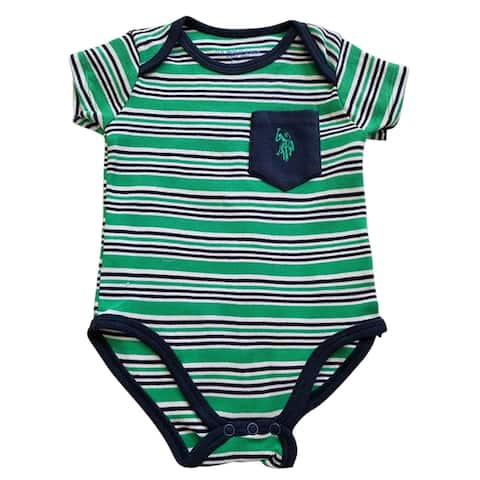 US Polo Assn Green Blue Stripe Pocket Short Sleeve Bodysuit Baby Boys