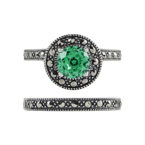 MARC Sterling Silver Green Quartz & Marcasite Halo 2-piece Ring