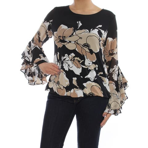 a8f254d2fc2c ALFANI Womens Beige Floral Ruffle Bell Sleeve Jewel Neck Wear To Work Top  Size: S