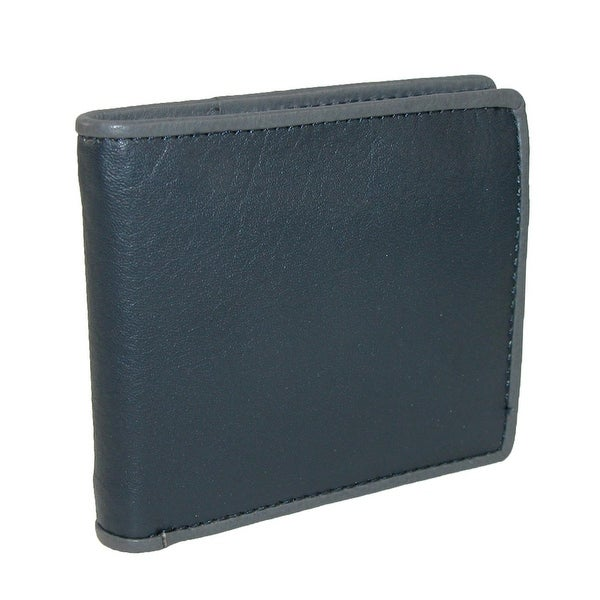 CTM® Men's Leather Two Tone Bilfold Wallet with French Binding - One size