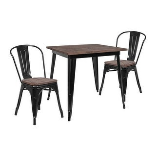 "Offex 31.5"" Square Black Metal Table Set with Wood Top and 4 Stack Chairs"
