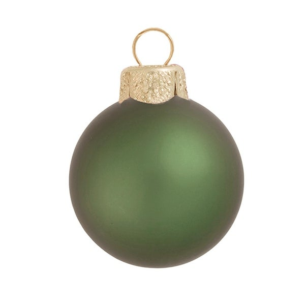"8ct Matte Shale Green Glass Ball Christmas Ornaments 3.25"" (80mm)"