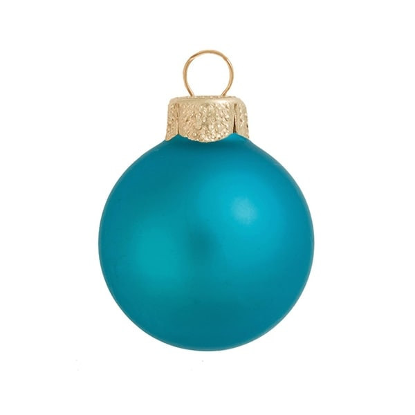 "12ct Matte Turquoise Blue Glass Ball Christmas Ornaments 2.75"" (70mm)"