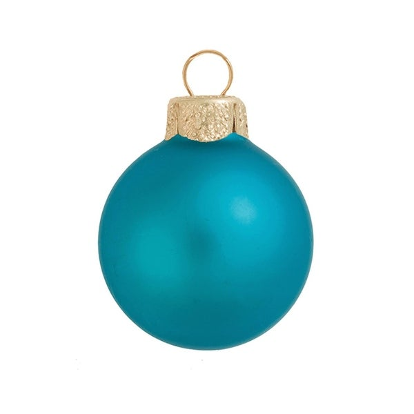 """8ct Matte Turquoise Blue Glass Ball Christmas Ornaments 3.25"""" (80mm)"""
