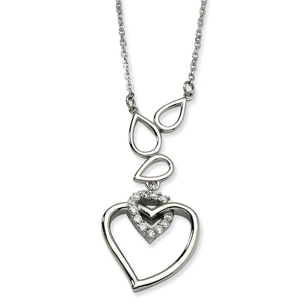 Chisel Stainless Steel Polished Teardrops & Heart with CZ Heart 18 with 1 Inch Extension Necklace (1 mm) - 18 in