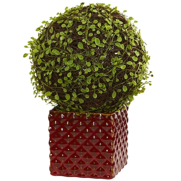 Nearly Natural Mohlenbechia Ball Artificial Plant in Red Ceramic Cube