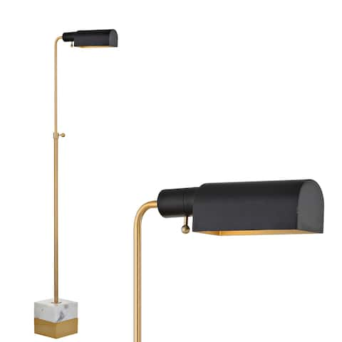 """Iva Adjustable Brass Library LED Floor Lamp, Brass Gold/Carrara Marble - 41-56.5"""" H x 17"""" W x 6"""" D"""