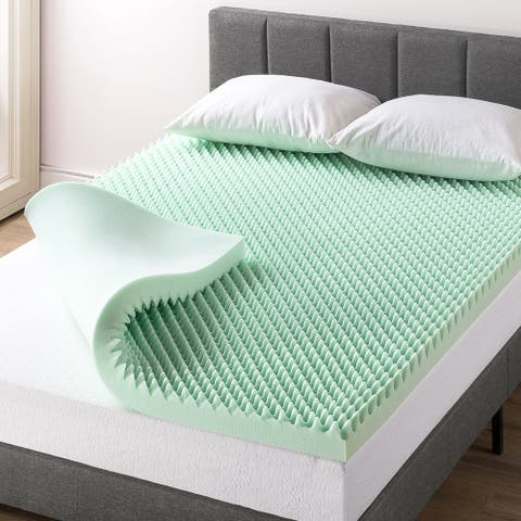 3 Inch Egg Crate Memory Foam Mattress Topper with Calming Aloe Infusion