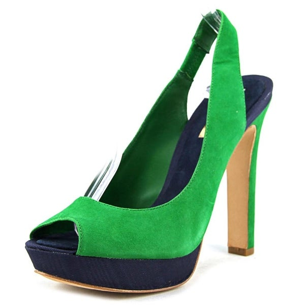BCBG Max Azria Mali Women  Open-Toe Suede Green Slingback Sandal