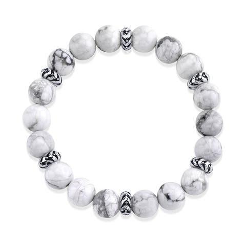 SPARTAN Mens Beaded Bracelet with Various Beads and 925 Sterling Silver Connectors