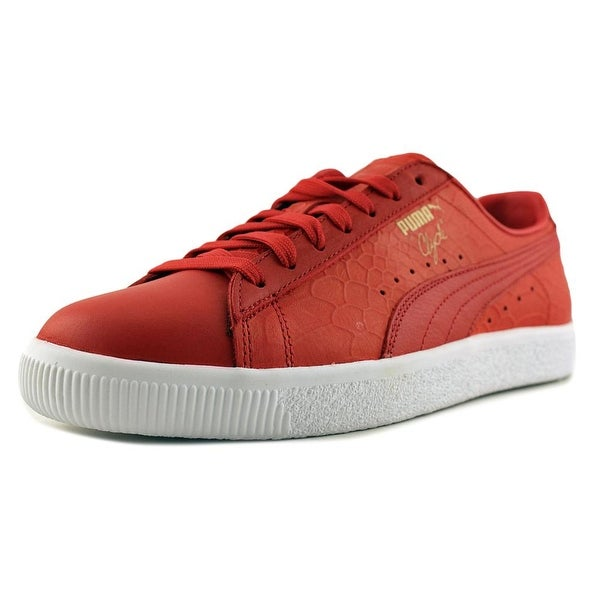 Puma Clyde Dressed Men Round Toe Leather Red Sneakers
