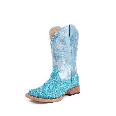 Roper Western Boots Girls Square Glitter Green