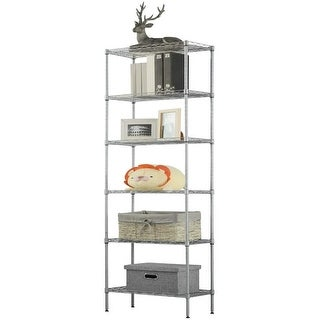 LANGRIA 6 Tier Wire Shelving Unit Organization and Storage Rack with 5 Hooks,Silver - Silver